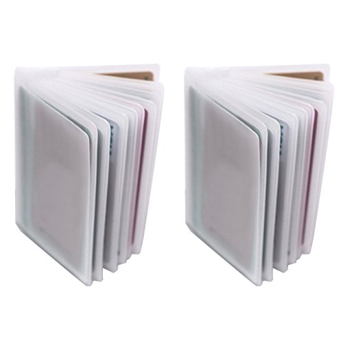 Set of 2-10 Page Plastic Card Wallet Insert For Bifold Trifold 20 Slots Holder Replacement (Vertical Type - Set of 2) (Tall Wallet Insert)
