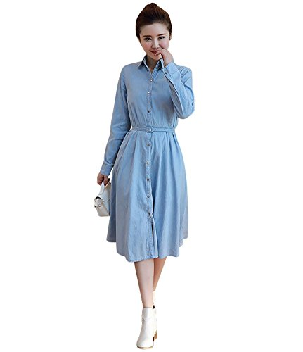 Buy light blue and brown dress - 2