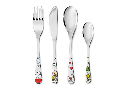 (Snoopy and Friends Peanuts Childrens' Kids Cutlery Set 4 Piece Colour Gift Boxed from Zilverstad)