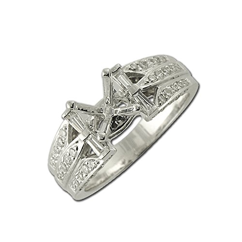- TriJewels Diamond Round & Baguette Shape Semi Mount Ring 0.40 ct tw in 14K White Gold.size 6.5