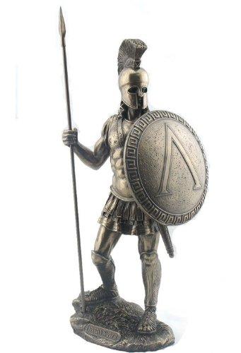 14.5 Inch Spartan Warrior w/ Spear & Shield Rome Roman Sculpture Figure ()