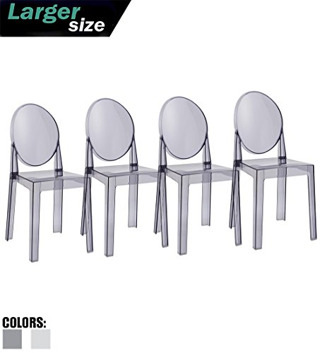 2xhome Set of 4 Large Size - Smoke Crystal Mid Century Modern Contemporary Ghost Side Chair No Arms Wheels Armless with Back Transparent Guest Office -
