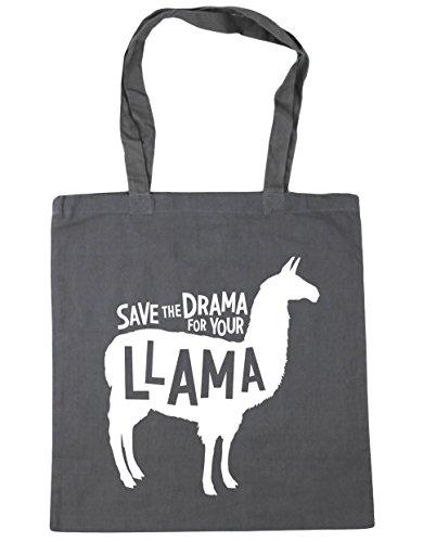 HippoWarehouse Save the Drama para su llama bolsa de la compra bolsa de playa 42cm x38cm, 10litros, negro (negro) - 21439-TOTE-Black gris grafito