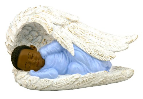 African-American Baby Boy in Angel Wing - Boy Angel Figurine