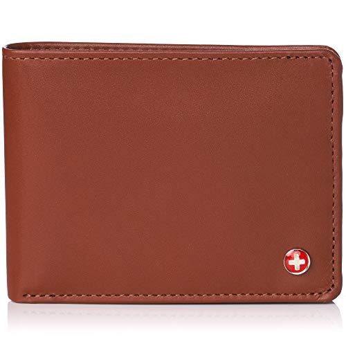 Alpine Swiss Mens RFID Safe Leather Wallet Slim Flip-out Bifold Trifold Hybrid Smooth Finish Tan