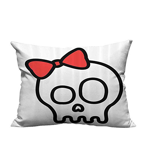 YouXianHome Throw Pillow Cover for Sofa Baby Skull Girl with Lace and Halloween Dead Head Teen Textile Crafts (Double-Sided Printing) 11x19.5 inch