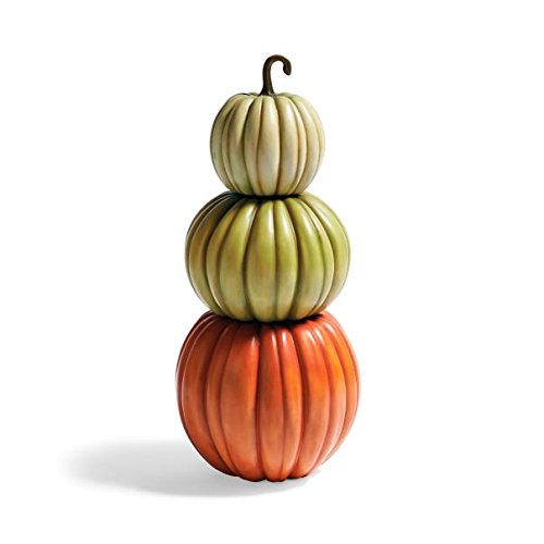 Fall Boutique Quality Resin Orange Green Pumpkin Stack Topiary Porch Sculpture Urn Filler (Topiary Sculpture)