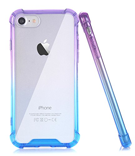 BAISRKE Blue Purple Gradient Slim Shock Absorption Protective Cases Soft TPU Bumper & Hard Plastic Back Cover Compatible with iPhone 7 (2016) & iPhone 8 (2017) [4.7 inch]
