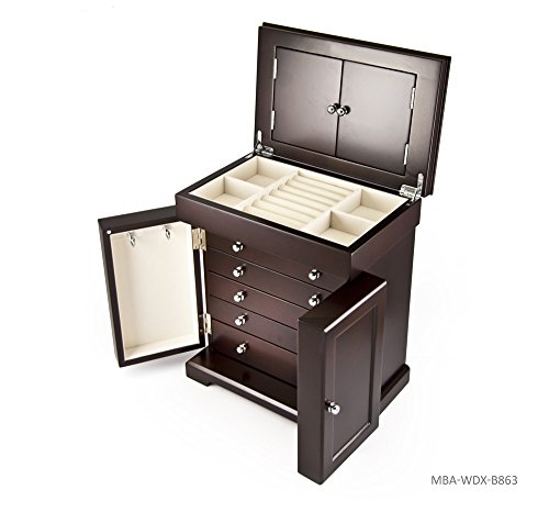 Masterpiece Handcrafted 18 Note Modern Dark Espresso Grand Musical Jewelry Box with Contemporary Hardware - Over 400 Song Choices - Music of the Night (Phantom of the (Opera Musical Jewelry Box)