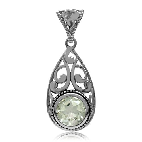 2.14ct. Natural Green Amethyst 925 Sterling Silver Filigree Swirl Drop Shape Pendant