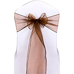 Urtronix Organza Chair Cover Sashes Ribbon Bows for Wedding Decoration (50, Copper)