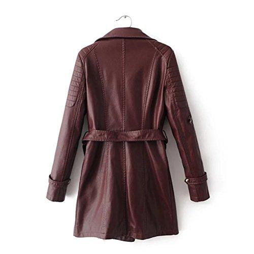 Women Fashion Long Slim en PU cuir Red Windbreaker Motorcycle pour Winter Femme Dark Zhhlaixing Jacket Veste Coats Waist ZHwdZP