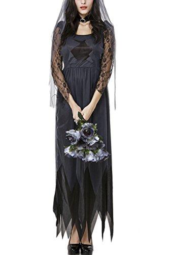 Women's Sexy Lace Sheer Witch Halloween Dress Black XL (Sexy Witch Dress)