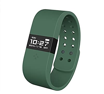 Digicare® ERI Bluetooth 4.0 Smart Watch Update Smartband Fitness Activity Tracker Bracelet Sleep Monitor Wristband W/led Touch Screen Waterproof Ip67 Thermometer Measuring Heart Rate for Andriod & Ios (Army Green)
