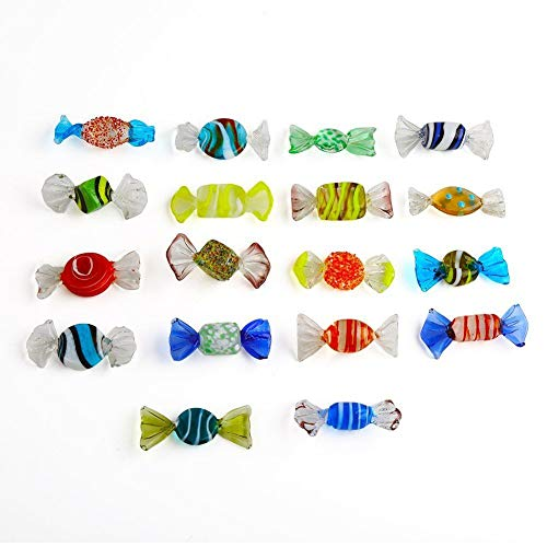 F-ber Handmade Boutique 18pcs Vintage Murano Style Various Glass Sweets 57mm x 27mm/2.24