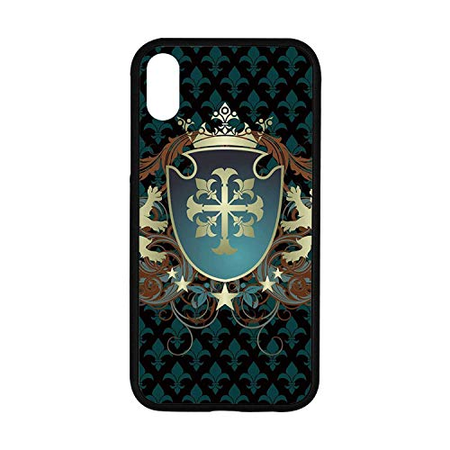 Medieval Rubber Phone Case,Heraldic Design of a Middle Ages Coat of Arms Cross Crown Lions Swirls Decorative Compatible with iPhone XR ()