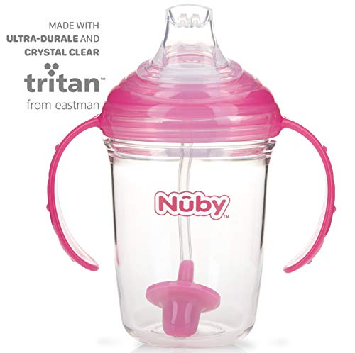 Nuby No Spill 360 Weighted Straw Grip N' Sip Tritan Cup with Hygienic Cover, 8 Oz, Trainer Cup, Pink