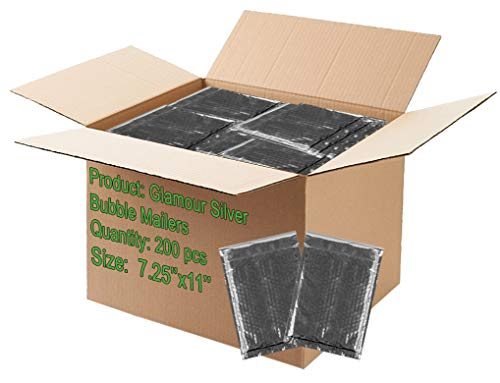 200 Pack Bubble mailers 7.25 x 11 Padded envelopes 7 1/4 x 11. Silver Cushion envelopes. Exterior Size 8x12 (8 x 12). Peel & Seal. Glamour Metallic foil. Mailing, Shipping.]()