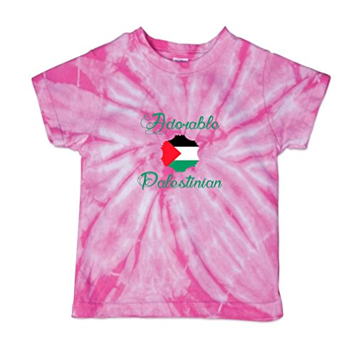 Adorable Palestinian Palestine Baby Kid 100% Cotton Tie Dye Fine Jersey T-Shirt Tee - Pink, 2T