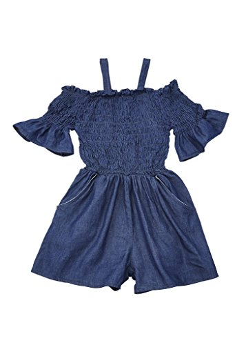 [A33859-DKDNM-10/12G] Chilipop Shorts Romper for Girls - Smocked Dark Blue Denim with Ruffle (Outfits For Tweens)