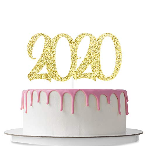 2020 Cake Topper, New Year Party Supplies, New Year Celebration, New Year's Eve Party, Hello 2020, Double Sided Gold Glitter