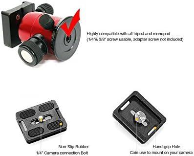HORUSBENNU DSLR Traveler Camera Tripod M-2531T Black with Ball Head LX-28T Red and Case