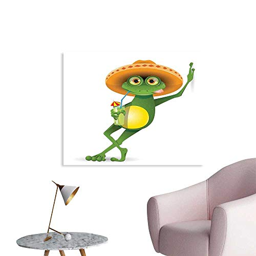 J Chief Sky Cartoon Wall Poster Frog in a Sombrero and a Cocktail Drink Glass Fauna Hot Weather Holiday Wall Picture Decoration W20 ()