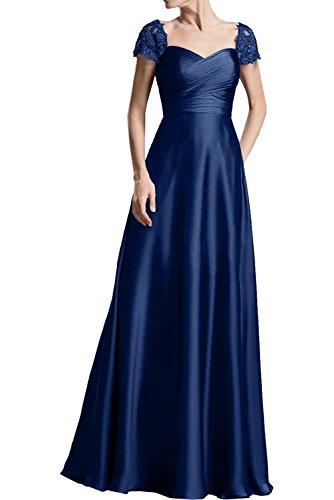 Royal La Rock Kurzarm Blau Lang Abendkleider Linie Damen Braut Partykleider mia Dunkel Satin Elegant A Brautmutterkleider Ballkleider 4xr14Z