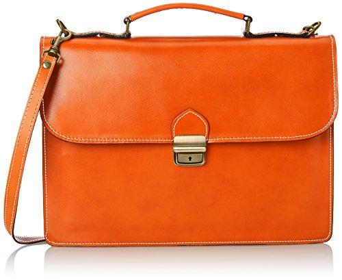 CTM Borsa Uomo da Lavoro Cartella, Porta Documenti, 38x27x7cm, Vera Pelle 100% Made in Italy Arancione