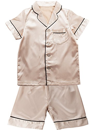 Boys Loungewear - JOYTTON Kids Satin Pajamas Set PJS Short Sleeve Sleepwear Loungewear Champagne