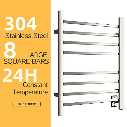 HEATGENE Hot Towel Warmer for Bath Heated Drying Rack 8 Square Bar Mirror Polish