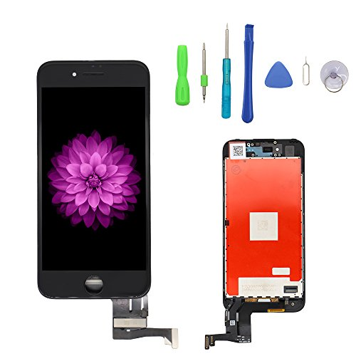 Screen Replacement iPhone 7 Black, LCD Display & Touch Screen Digitizer Frame Cell Assembly Set 3D Touch Free Repair Tool iPhone 7 4.7 inch Black by YOU XIN
