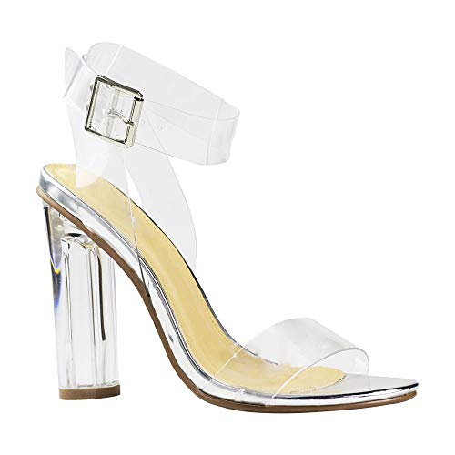 Women's Transparent Sandal Ankle Cross Strap Adjustable Buckle Perspex Block Chunky Heel Sexy Shoes Silver 6