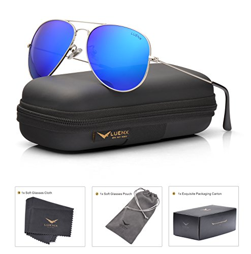 LUENX Men Women Aviator Sunglasses Polarized Mirrored Dark Blue Lens Silver Frame UV 400 60 MM with Accessories Classic - Sunglasses Oversized Mirrored Aviator