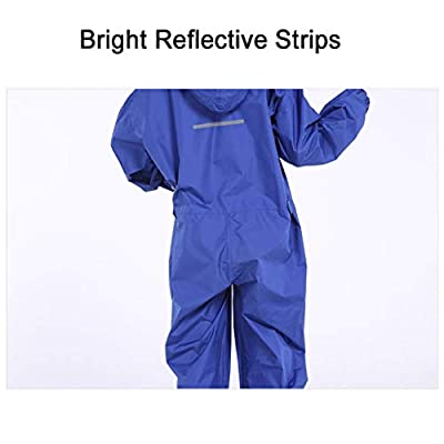Vine Women Raincoat Adult One Piece Waterproof Rain Suit Reflective Jumpsuit Man Rain Jacket: Clothing