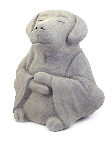 Zen Garden Statues - Modern Artisans Meditating Dog - Cast Stone Garden Sculpture : Large Size, Grey Stone Finish