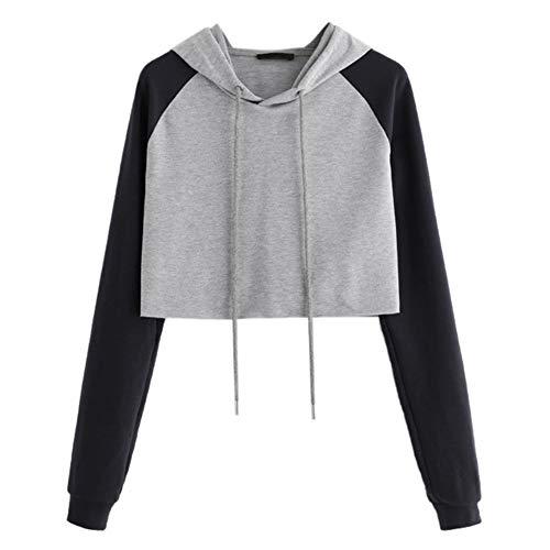 Women Ladies Sweatshirt,Casual Hooded Long Sleeve Crop Patchwork Blouse ANJUNIE Pullover ()
