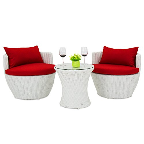 Kinbor 3Pcs Wicker Rattan Furniture Set Patio Outdoor Stackable Vase Coffee Table and Chairs w/Cushions (white) by Kinbor