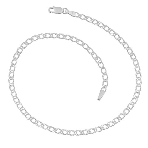 Sterling Silver 2.8-mm Fancy Double Curb Chain Adjustable Anklet (9-10 Inch)
