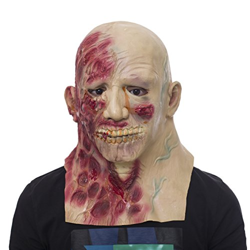 molezu Horror Mask, Scary Mask, Latex Costume Party Facial Burns Mask, Zombie Novelty Mask Suit for Halloween Red]()