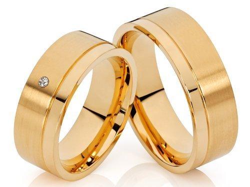 2 alianzas de póster con anillos de alianzas y corazones de compromiso anillos 18 K chapado