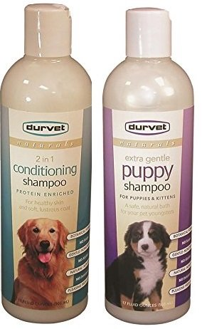 Durvet Naturals 2 in 1 Conditioning Shampoo and Extra Gentle Puppy Shampoo (Bundle)