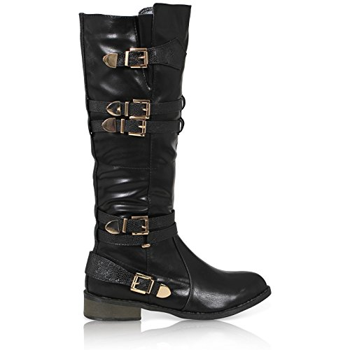 SHOES Leather KNEE Black CASUAL WOMENS KNEE BOOTS BUCKLES Pu HIGH LADIES CALF RIDING HIGH WINTER 7PPOxEqwC