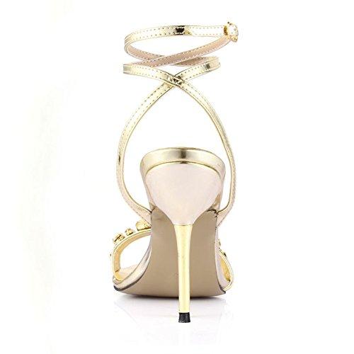 femme grandes de banquet blond Sandales ceinture talon Nouvelles d'eau chaussure Pale de Gold chaussures clair forage v5aqH7w