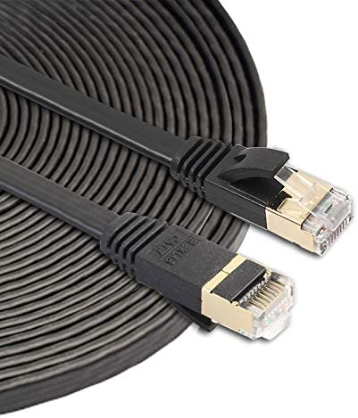 Built with Shielded RJ45 Connectors Network Cables Computer Cables 10m CAT7 10 Gigabit Ethernet Ultra Flat Patch Cable for Modem Router LAN Network
