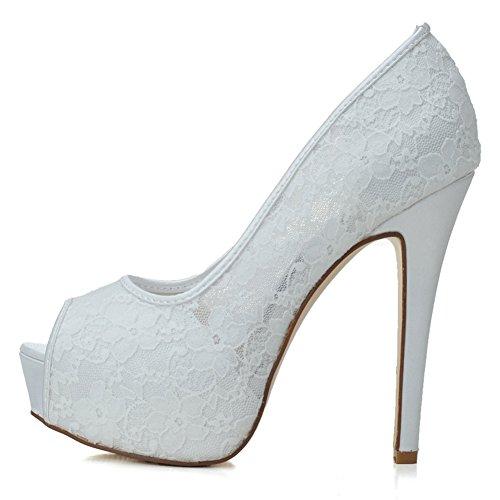Wedding LOSLANDIFEN Bridal High Pumps Women's Super Stiletto Platform Heels Toe Lace White Breathable Elegant Peep Shoes pprq17w