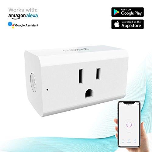 Mini Wifi Plug -  Smart Wifi Plug Works with Amazon Alexa Echo Google Home, No Hub Required, Max 16A Rated Current (White) - SUDISER Smart Plug