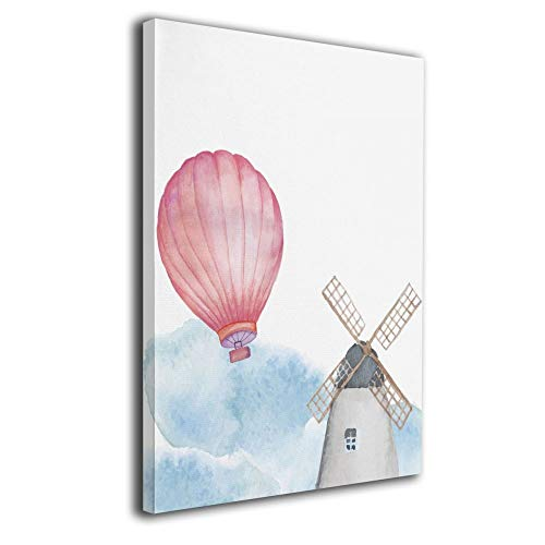 Little Monster Hot Air Balloon and Windmill Framed and Stretched Printed On Canvas Wall Decorations Comics Art for Kids Bedroom Bathroom