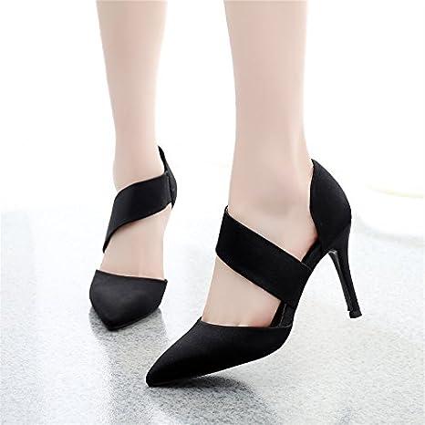 GTVERNH-tacchi a spillo solo le scarpe le donne i tacchi scarpe da lavoro 9cm estate sottile capriccioso sharp sposato le scarpe 36 black