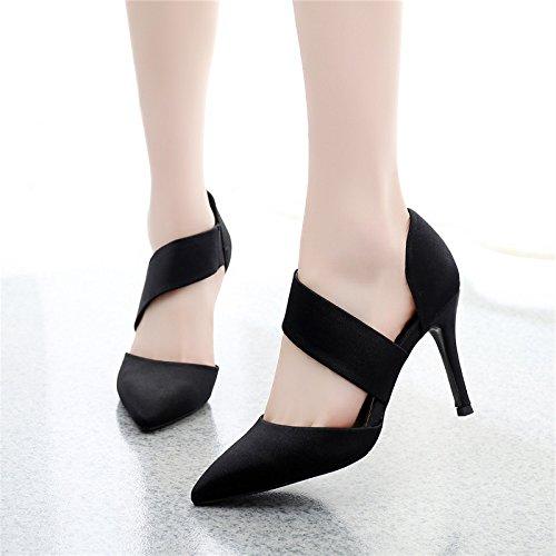 39 scarpe da estate capriccioso lavoro tacchi a spillo le solo 9cm sottile sharp le tacchi GTVERNH donne sposato i black scarpe le scarpe gpwp1